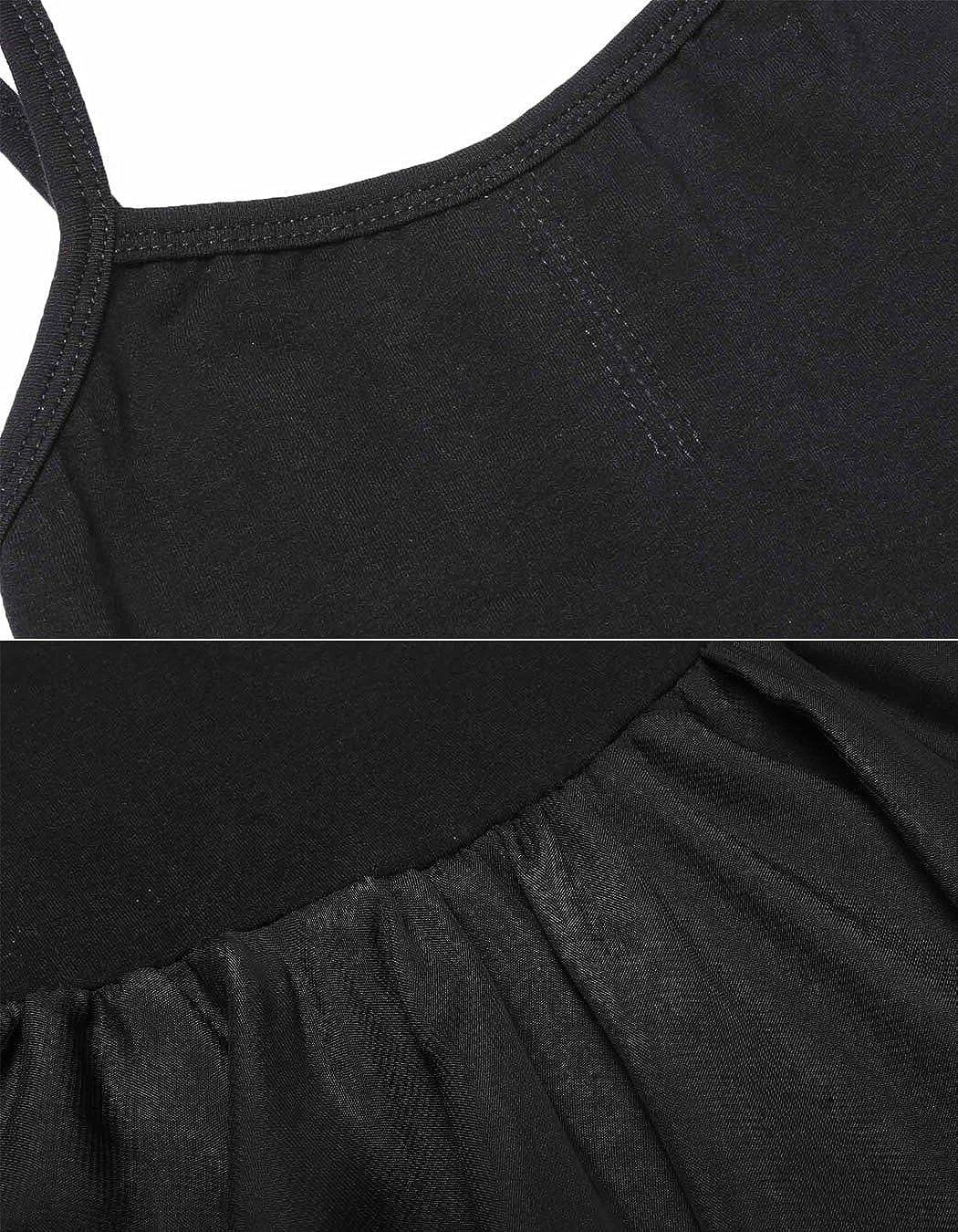 POGT Girls Sleeveless Strappy Dancing Ballet Camisole Dress Leotard skirt