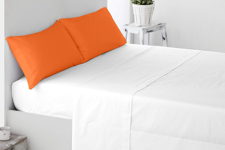 Miracle Home Funda Almohada, Suave y Cómoda, Dos Piezas, Algodón 50% Poliéster, Naranja, 135 cm