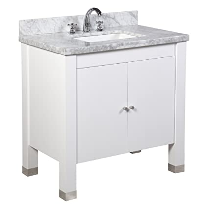 Kitchen Bath Collection KBC9936WTCARR Riley Bathroom Vanity With Marble  Countertop, Cabinet With Soft Close Function