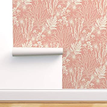 Spoonflower Peel And Stick Removable Wallpaper Seaweed Coral Pink White Nautical Ocean Anemone Under The Sea Print Self Adhesive Wallpaper 12in X 24in Test Swatch Amazon Com
