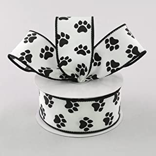 White Satin with Black Paw Prints 1.5' Wired Paw Print Ribbon 10 Yards / 30 Feet of 1.5 Inch Wire Edged Paw Print Ribbon