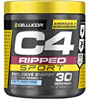 C4 Ripped Sport Pre Workout Powder Arctic Snow Cone - NSF Certified for Sport + Sugar Free Preworkout Energy Supplement…