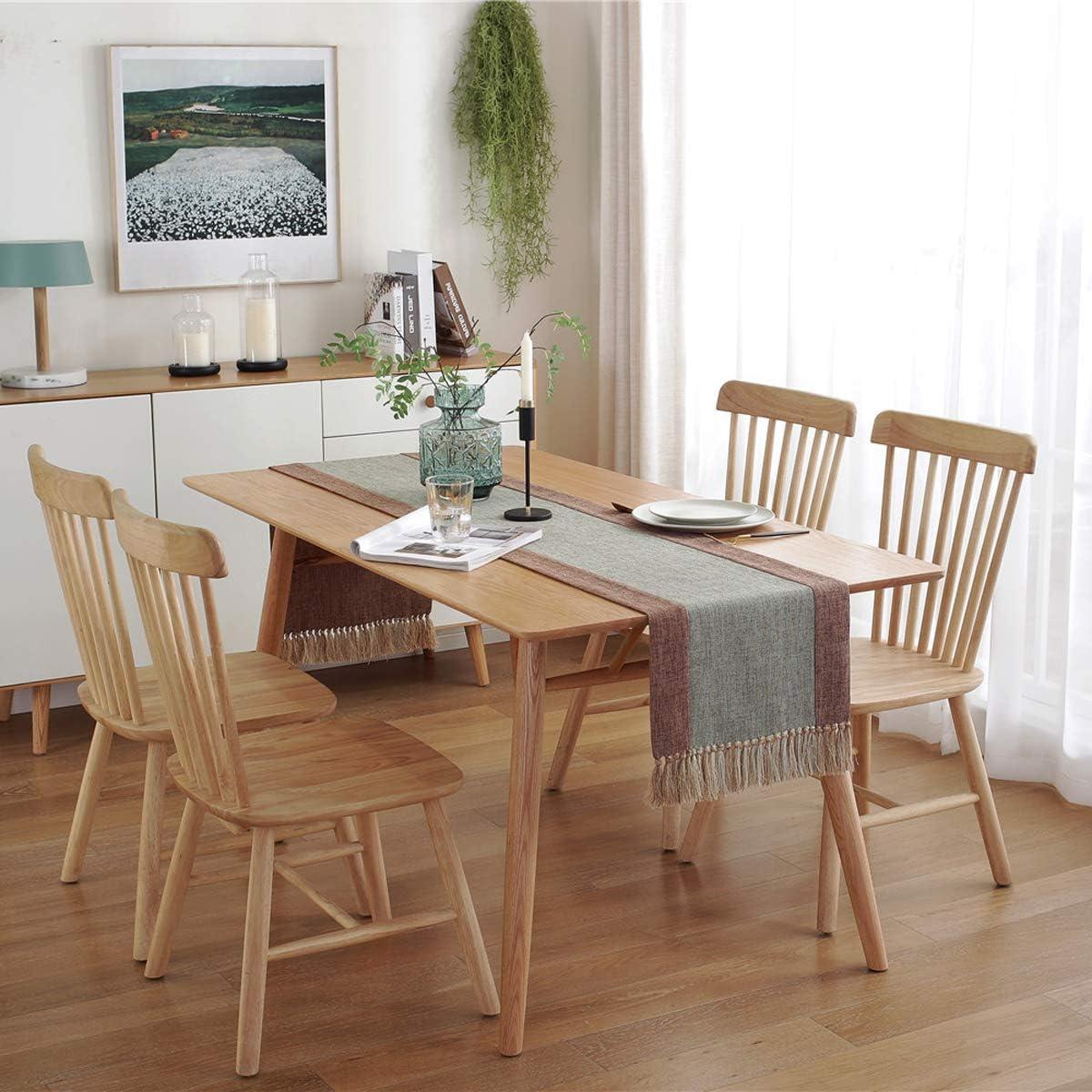 PHNAM Non-Slip Linen Long Green and Brown Table Runner with Tassels