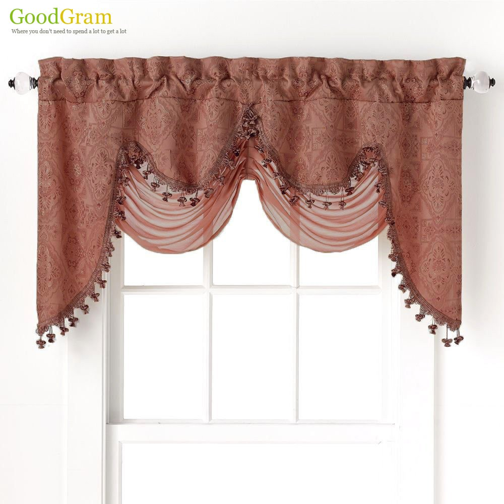 Ultra Elegant Clipped Jacquard Georgette Fringed Window Valance With an Attached Sheer Swag