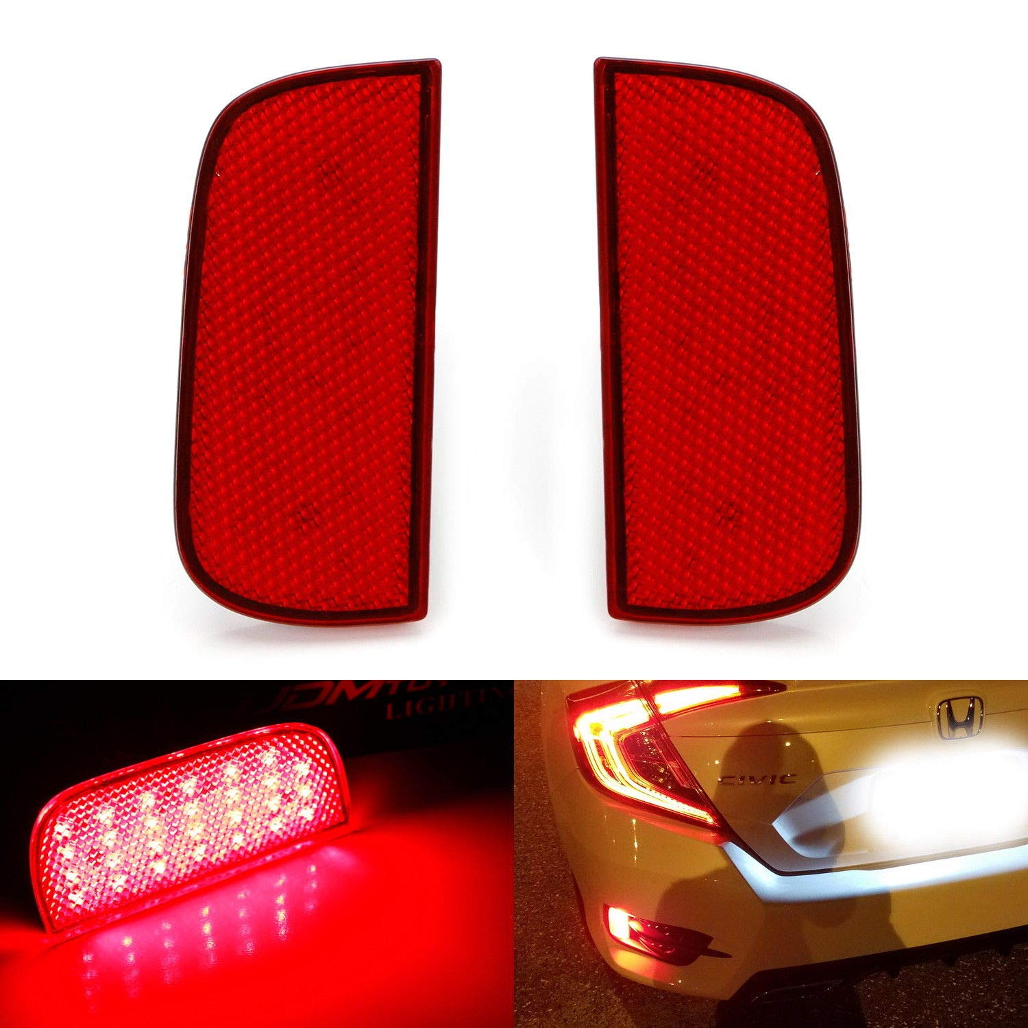 Brake /& Rear Fog Lamps Function as Tail iJDMTOY Red Lens 54-SMD LED Bumper Reflector Lights For 16-up Honda Civic Sedan//Coupe
