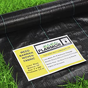FLARMOR Premium Landscape Fabric Heavy Duty 3Ft x 300Ft 3.2oz Black - Woven Weed Barrier Landscape Fabric - Weed Block - Garden Fabric Roll - Commercial Weed Control Fabric - Weed Barrier Cloth