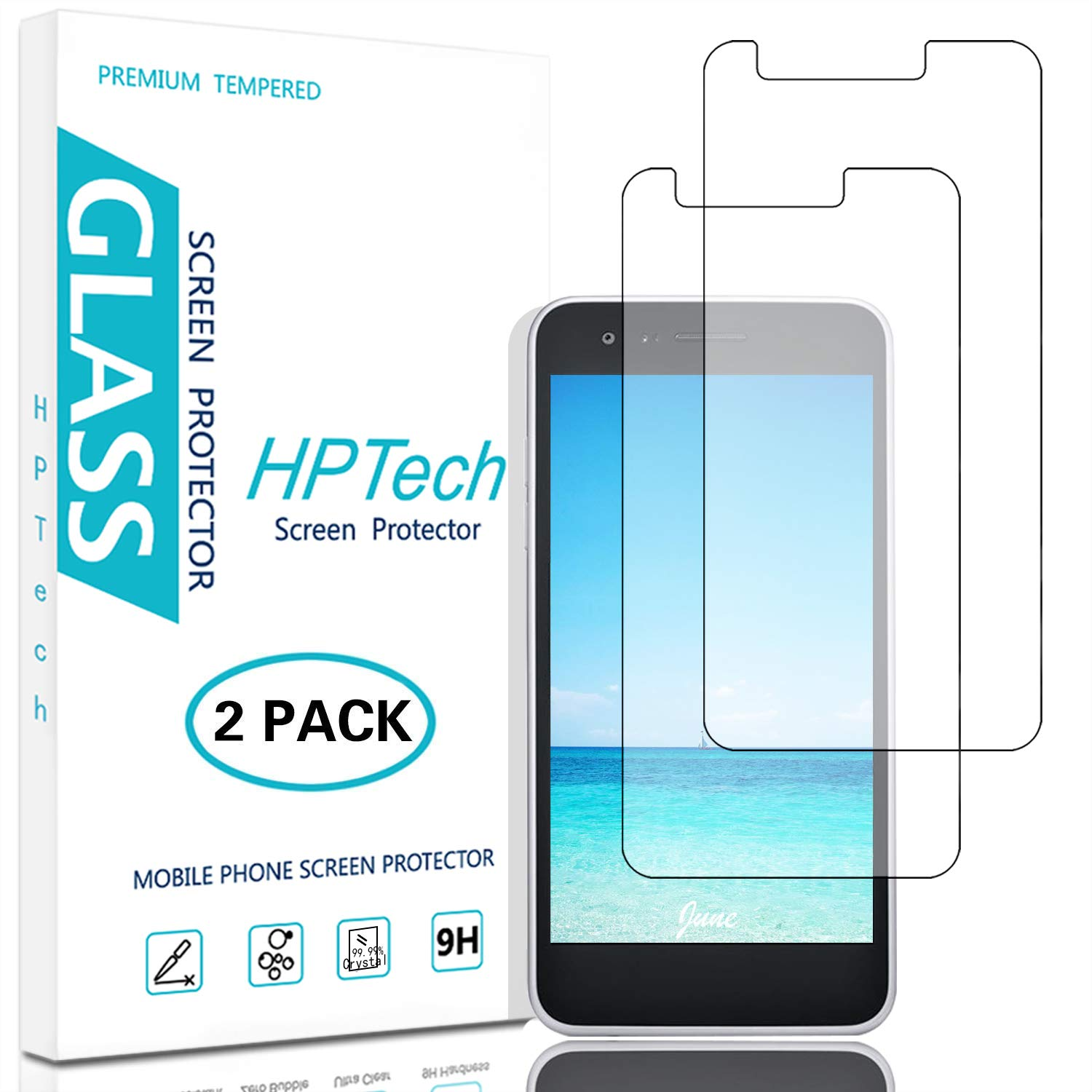 HPTech LG Rebel 4 LTE Screen Protector - (2-Pack) Tempered Glass Film for LG Rebel 4 LTE Easy to Install, Bubble Free with Lifetime Replacement Warranty