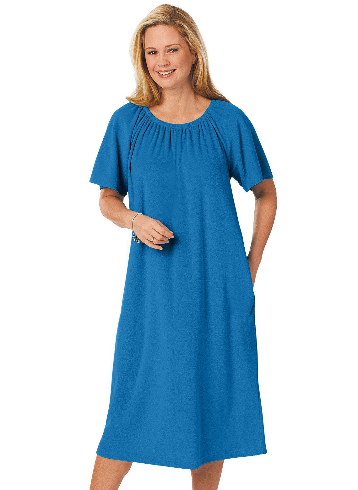 Carol Wright Gifts Terry Pop-Over Dress, Royal, Size Extra Large (1X)