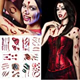 Temporay Tattoos, 10 hojas de diseño diferentes, Halloween Zombie Scars Tattoos Stickers con Fake Scab Blood Special Fx…