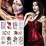 Temporay Tattoos, 10 hojas de diseño diferentes, Halloween Zombie Scars Tattoos Stickers con Fake Scab Blood Special Fx…