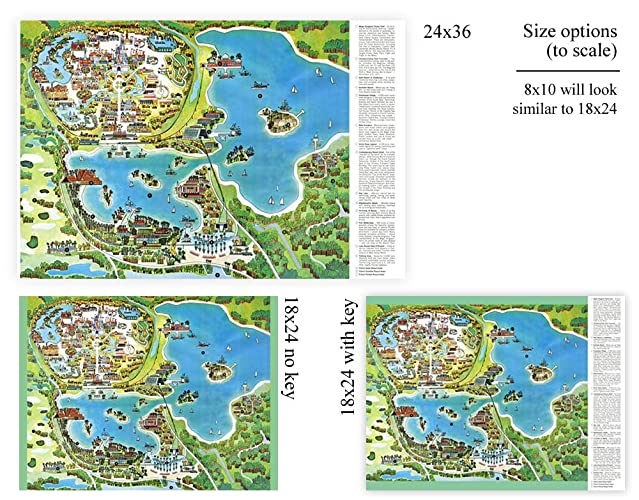 """Vintage 1976-1978 DISNEY WORLD Park Map Poster! Wall Decor up to 24/' x 36/"""""""