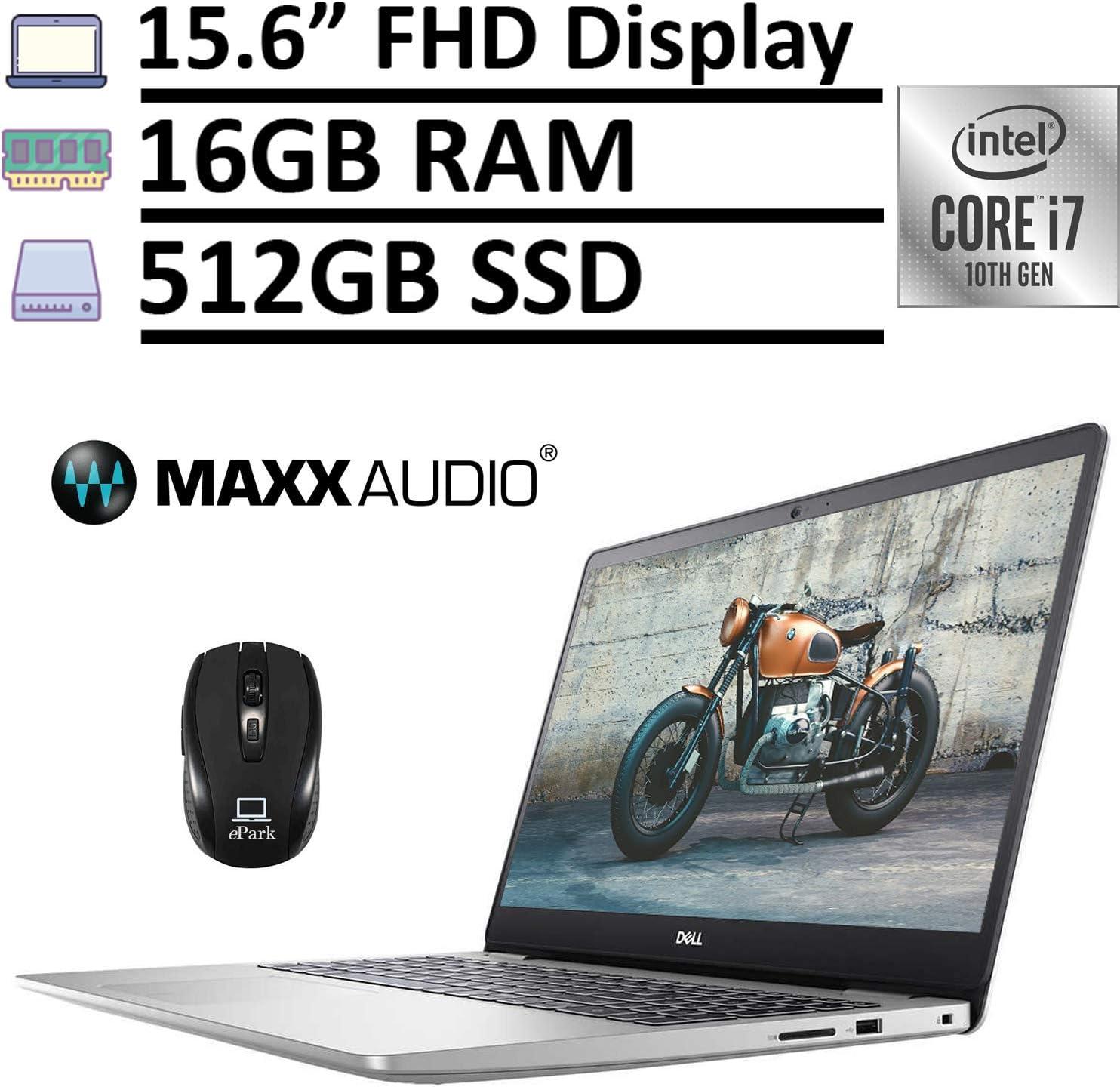 "Latest 2020 Dell Inspiron 15 5000 5593 Laptop, 15.6"" FHD 1080p Display, 10th Gen Intel Core i7-1065G7 16GB RAM 512GB SSD, MaxxAudio Pro Backlit KB Fingerprint Win 10 + ePark Wireless Mouse"