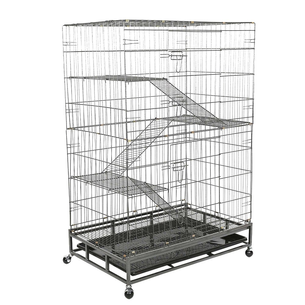 Livebest Folding 4-Tier Pet Cage Indoor Cat Rabbit Small Animal Cage Hutch with 3 Ramp Ladders and 4 Casters,Black