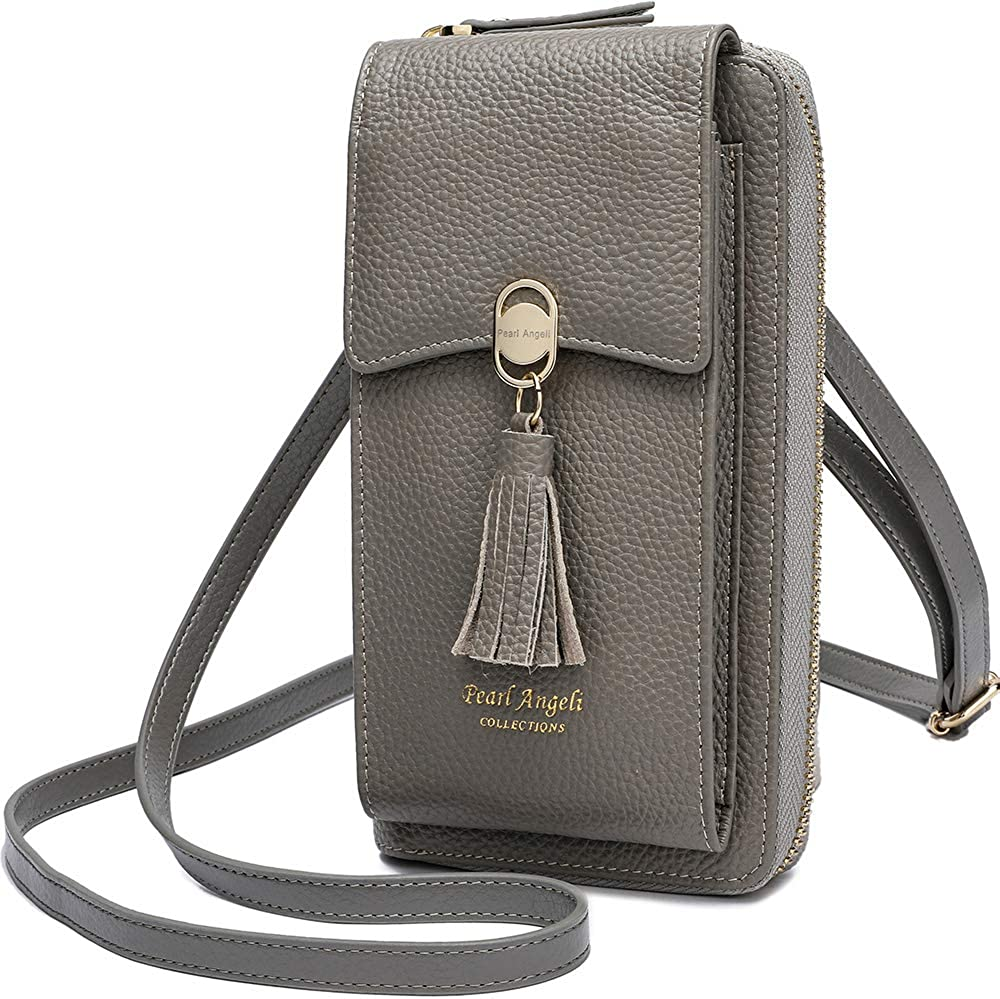 Pearl Angeli Women Phone Purse RFID Blocking Genuine Leather Small Ladies Cross-body Wallet Shoulder Bag