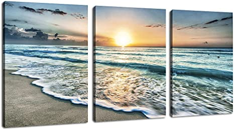 BEACH SEA WAVES CLIFF ROCKS SEASCAPE CANVAS PICTURE PRINT WALL ART #5773