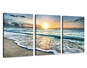 "Canvas Wall Art Beach Sunset Ocean Waves Wall Decor 3 Pieces x 12"" x 16"" Modern Seascape Canvas Artwork Contemporary Nature Pictures Painting Giclee Prints Framed Ready to Hang for Home Decoration"