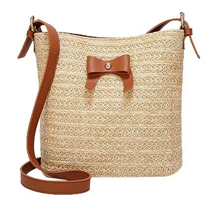 Sunshinehomely Bow Straw Shoulder Bag Woven Bucket Bag Summer Beach Purse  and Handbags for Women Girls f41f712bd52a6
