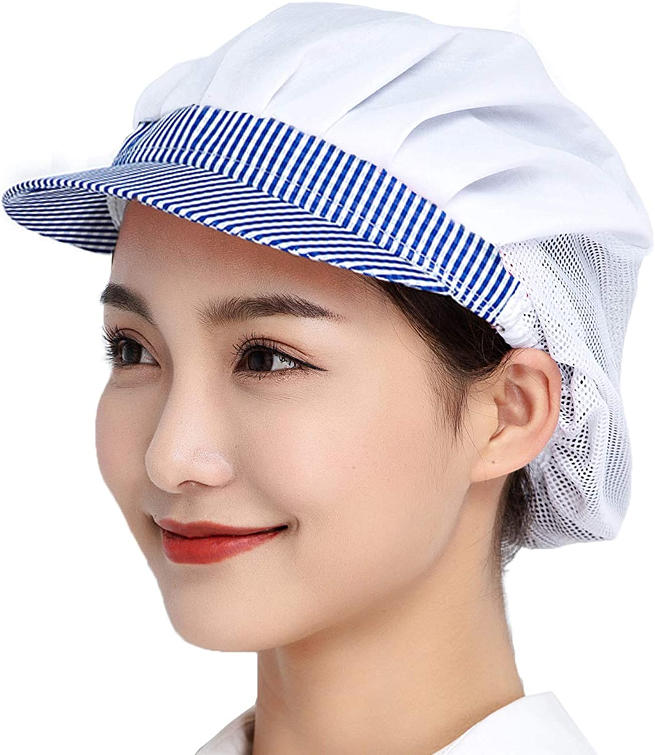 Jaspfct 3pcs Chef Hats, Hair Nets Food Service,Kitchen,Cooking,Work Cap with Brim for Adults