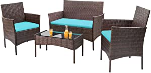 Homall 4 Pieces Outdoor Patio Furniture Sets Rattan Chair Wicker Set, Outdoor Indoor Use Backyard Porch Garden Poolside Balcony Furniture Sets (Brown and Blue)