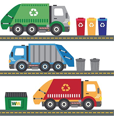 Amazon.com: Garbage Trucks Wall Decals, Recycling Trucks ...