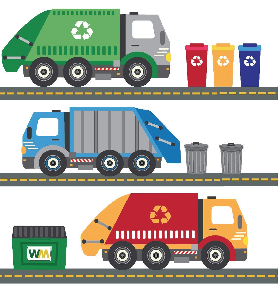 Garbage Trucks Wall Decals, Recycling Trucks Decals with 15 Ft of Gray Straight Road, Peel and Stick Fabric Stickers