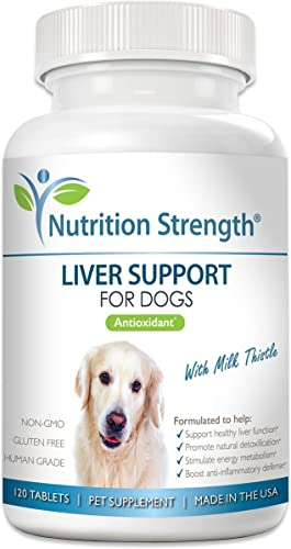 Nutrition Strength Liver Support for Dogs to Promote Natural Detoxification, with Milk Thistle for Dogs, Dandelion Root, Yellow Dock, Nettle Root, St. John s Wort Coenzyme Q10, 120 Chewable Tablets