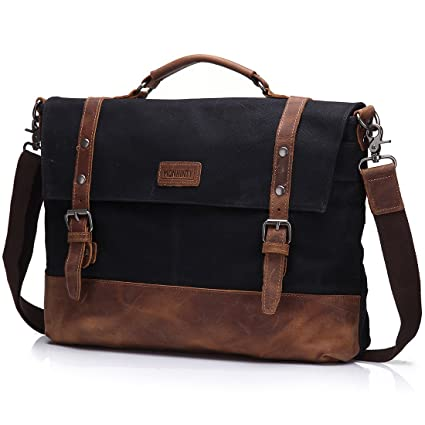 Image Unavailable. Image not available for. Color  Canvas 15.6 Inch Laptop  Messenger Bag for Men - Vintage Leather Business Briefcase Tote Shoulder  Satchel 0c08db00d9