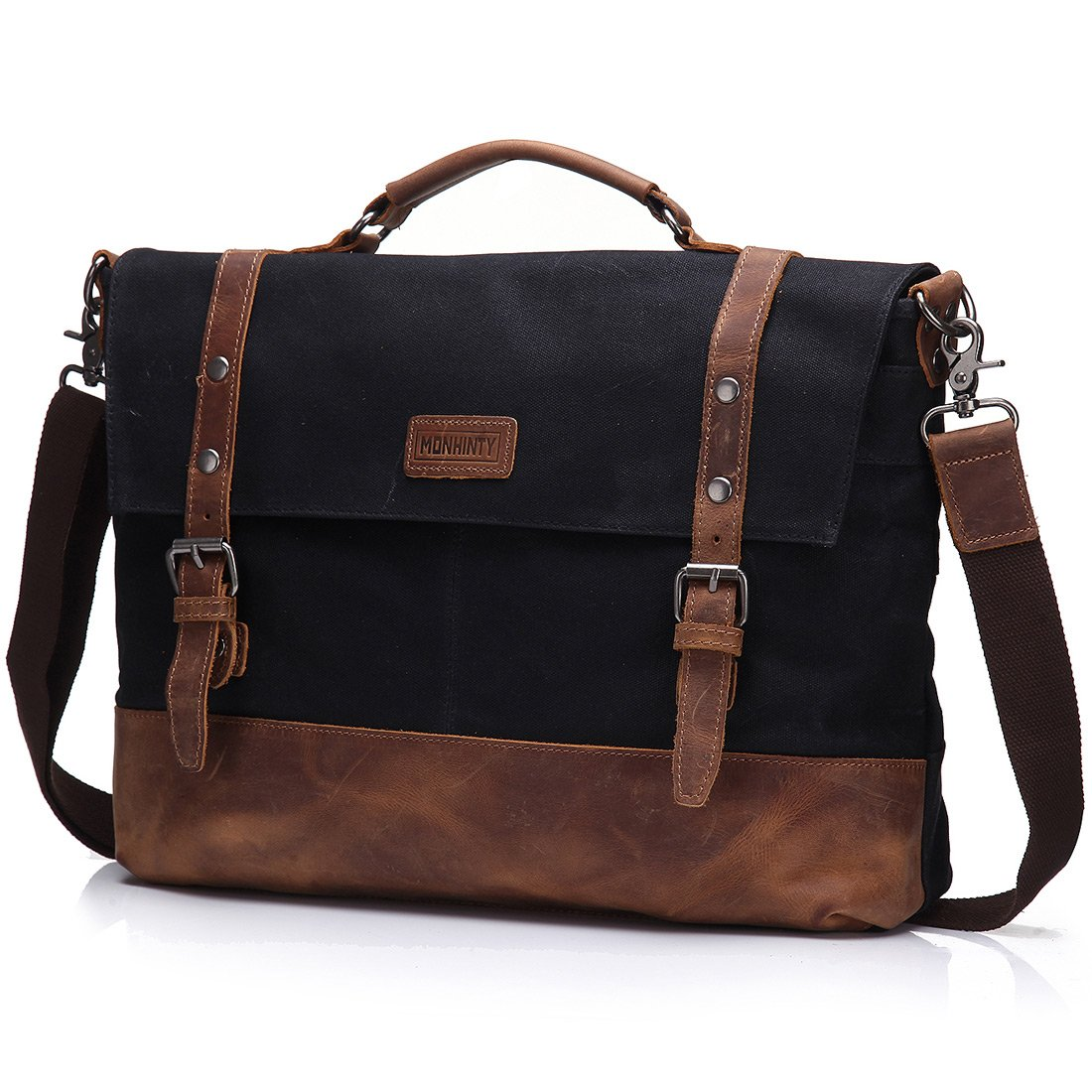 Waxed Canvas 15.6 Inch Laptop Messenger Bag for Men, Vintage Leather Business Briefcase Tote Shoulder Satchel Bags with Removable Strap Water Resistant Black