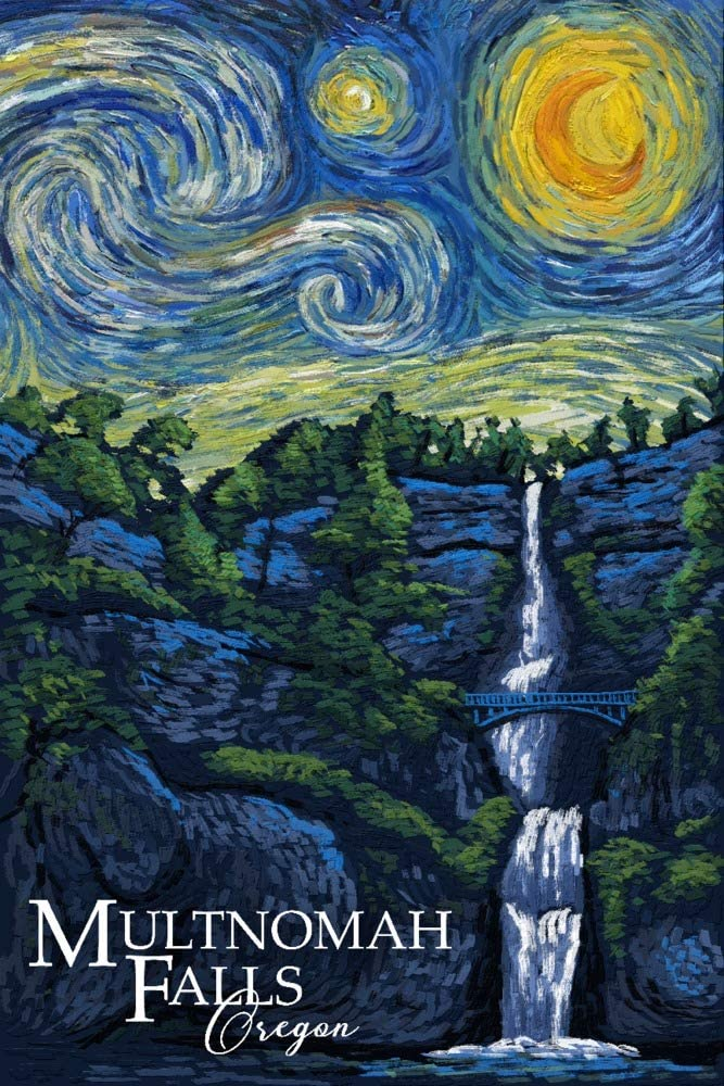 Multnomah Falls Van Gogh Starry Night 24x36 Gallery Wrapped Stretched Canvas Oregon