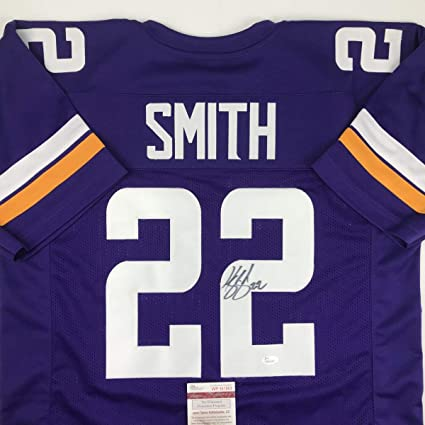51c53134d04 Autographed/Signed Harrison Smith Minnesota Purple Football Jersey JSA COA  at Amazon's Sports Collectibles Store