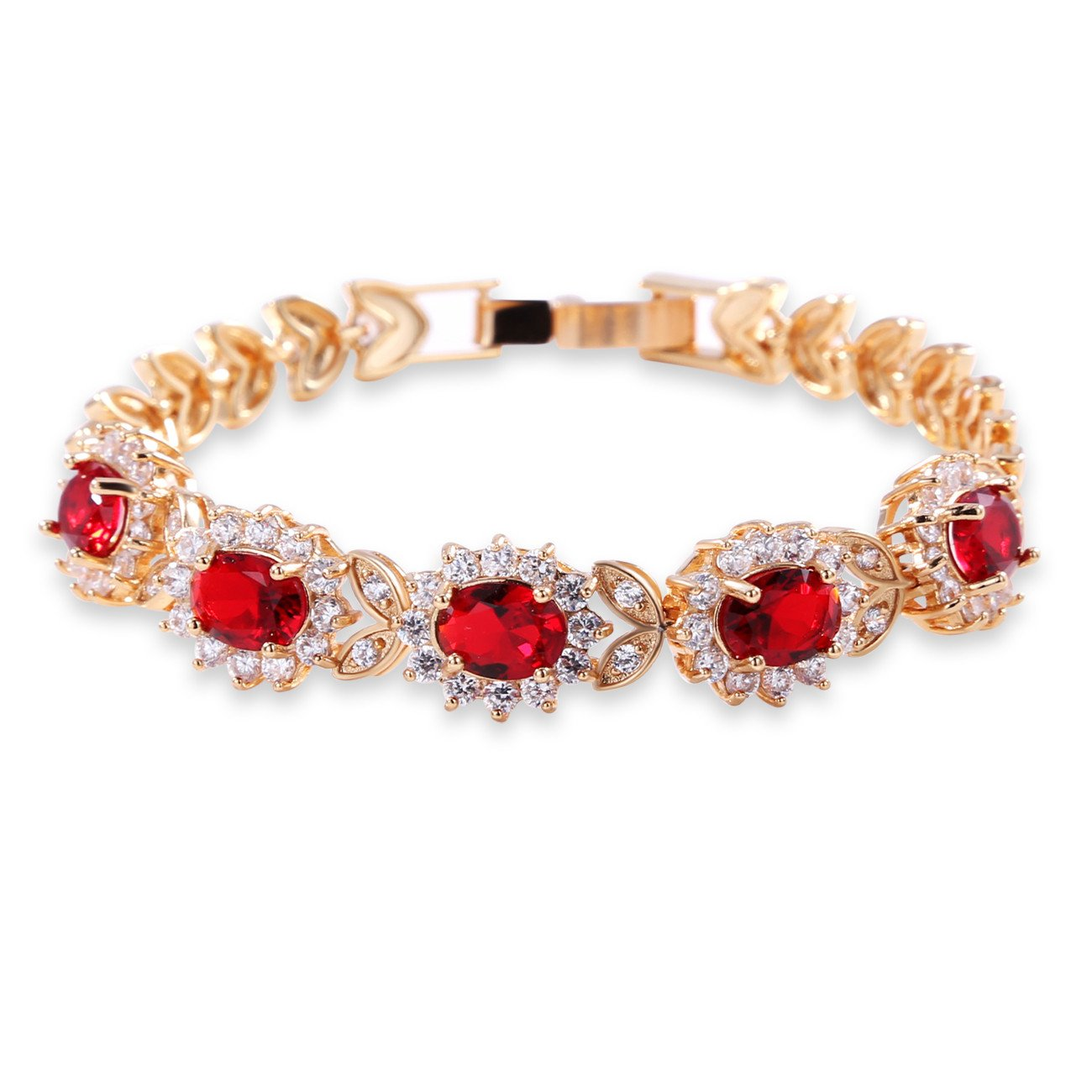 GULICX Flower Red Cubic Zirconia Crystal Gold Plated Red Bridal Bracelet for Women