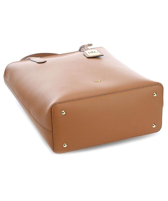 Ralph Lauren - Bolso al hombro para mujer Marrón cuero 28 x 34 x ...