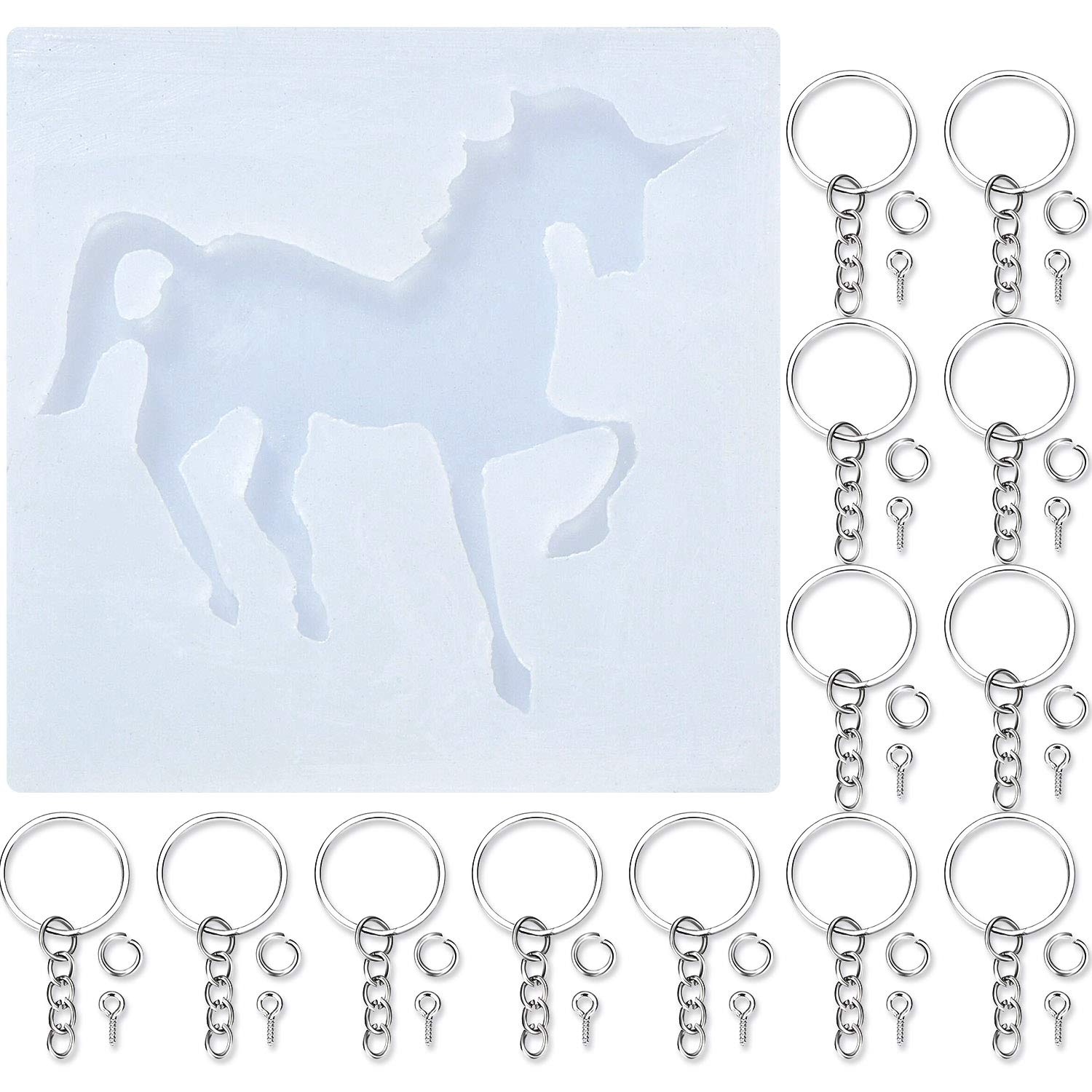 TecUnite Unicorn-Shaped Resin Casting Mold Silicone Jewelry Mold with 30 Pieces Key Chain Rings and 30 Pieces Screw Eye Pins