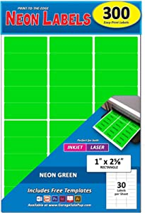 Pack of 300, 1 x 2-5/8 Inch, Neon Green, Mailing Address Labels for Laser and Inkjet Printers, Rectangle, Assorted Neon Fluorescent Colors, 1 x 2.625 in.