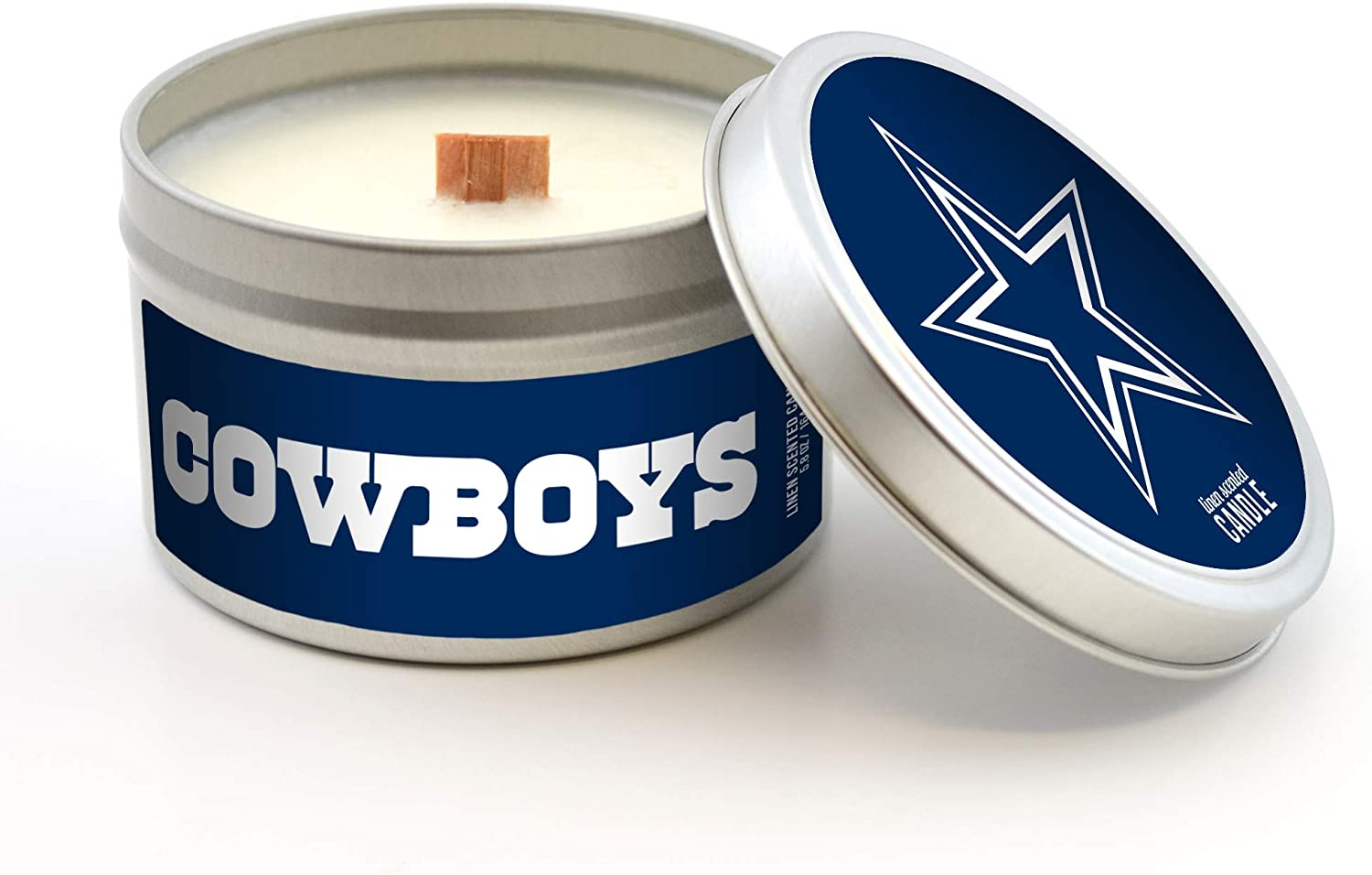 Wood Wick Worthy Promotional NFL Dallas Cowboys Linen Scented 6 oz Soy Wax Candle