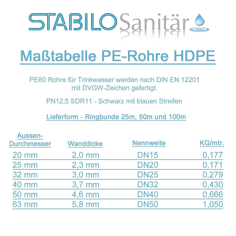 Stabilo-Sanitaer 25 m PE 80 HD Rohr 1 1//2 Zoll 50 x 4,5 mm PN12,5 flexible HDPE//Wasserleitung//Trinkwasserleitung//Wasserleitungsrohr//Bew/ässerungsrohr
