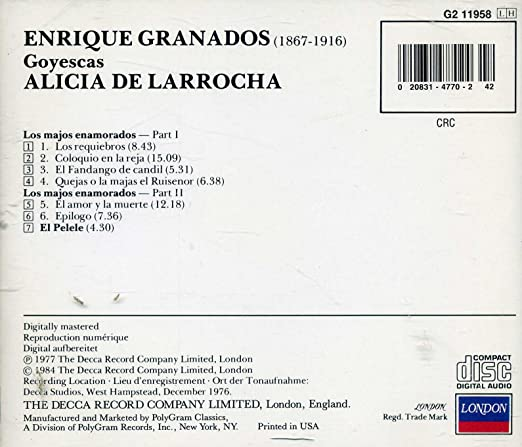 - Enrique Granados: Goyescas / El Pelele [Audio CD 1984] - Amazon.com Music