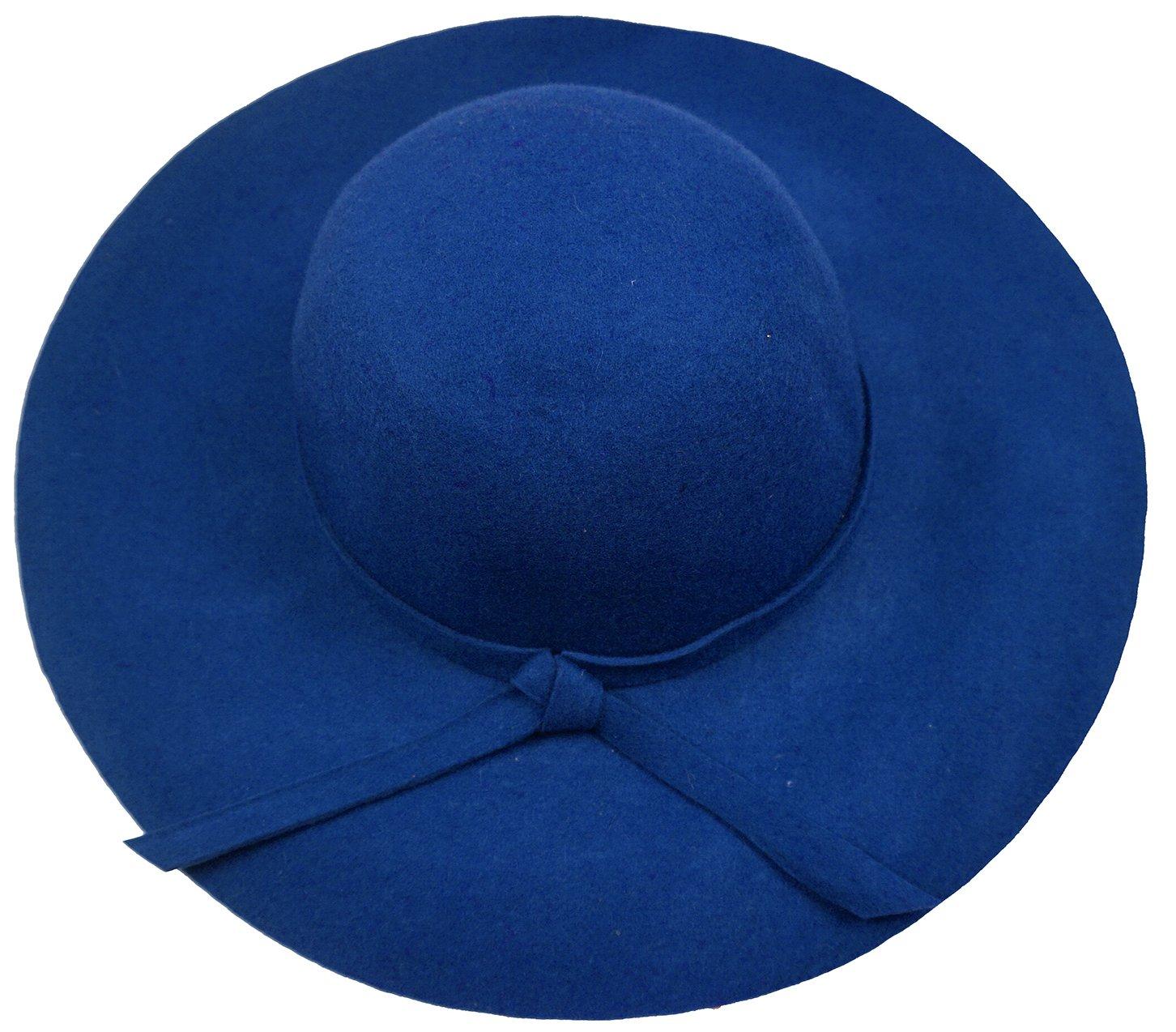 Bienvenu Women's Wide Brim Wool Ribbon Band Floppy Hat