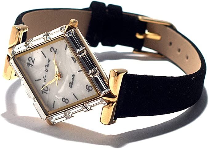 Art Deco Style Gold Tone Diamond Shape Clear Crystal Watch Faux Suede Black Strap New Boxed Bnib Amazon Co Uk Watches