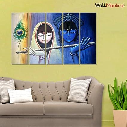 Amazon Com Wallmantra Radha Krishna Indian Spiritual Wall Painting
