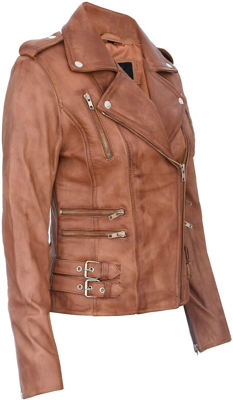 Infinity Leather Chaqueta Motera Retro 100/% Cuero Napa para Mujer