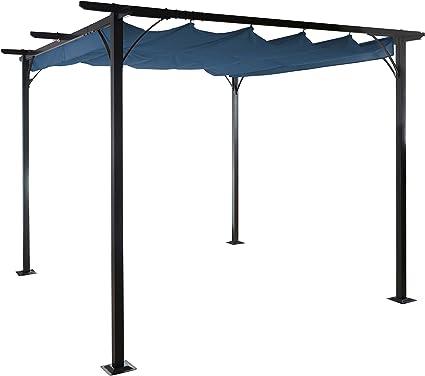 Mendler Pergola Avila, pabellón de jardín, Marco Estable con 6 cm + Techo Solar ~ 3 x 3 m Azul