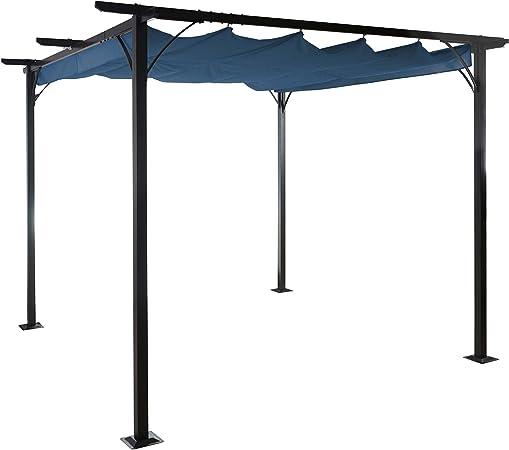 Mendler Pergola Avila, pabellón de jardín, Marco Estable con 6 cm + Techo Solar ~ 3 x 3 m Azul: Amazon.es: Hogar