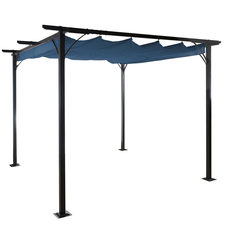 pergola avila garten pavillon stabiles 6cm gestell schiebedach 3x3m blau kaufen. Black Bedroom Furniture Sets. Home Design Ideas