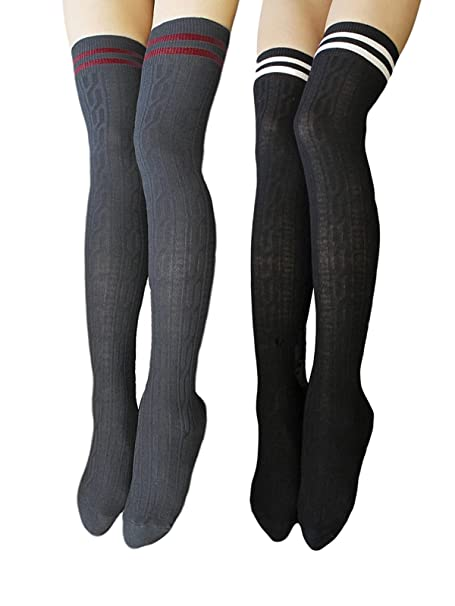 8d8523be3 TooPhoto Women's Stripes Referee Style Over Knee Thigh High Stockings Socks  B Black & Gray