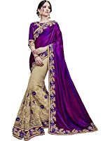 Sareeshop Georgette Saree With Blouse Piece (_Purple_Free Size)