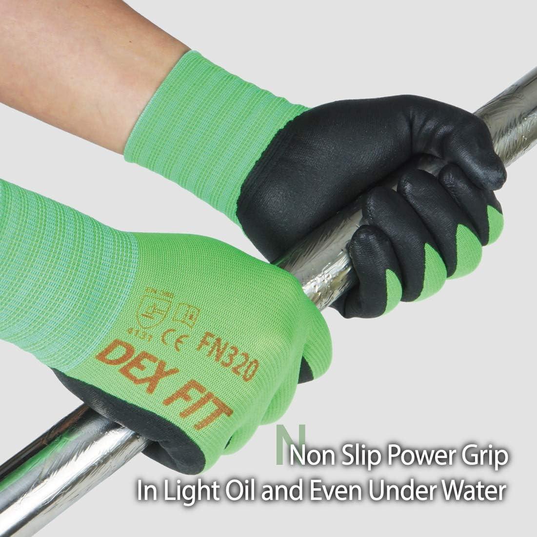 Power Grip DEX FIT FN320 Guantes de trabajo para jardiner/ía lavable a m/áquina Azul X-Small 3 Pairs Espuma de nitrilo duradero Delgado ligero y alto el/ástico Comfort 3D Stretch Fit