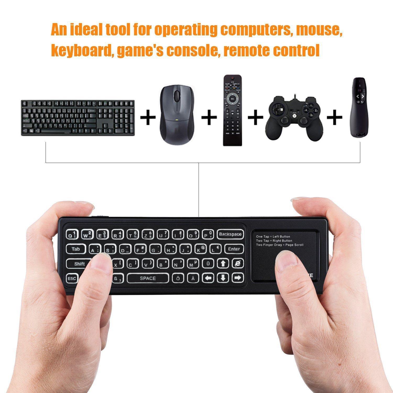 Airmaus Fernbedienung, AMBOLOVE Mini Tastatur kabellos Somatosensorisches Spiel Keyboard 2,4 G wiederaufladbare Air Mouse Combo mit Touchpad und 7 Farb-LED Backlits