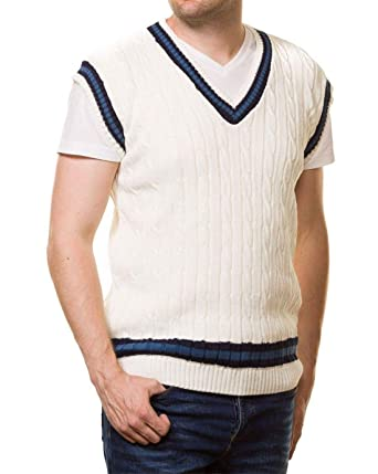 d647b9dd5a8cd9 Mens Cricket Cable Knitted Vest Sweater Adults Sleeveless Fancy V Neck  Sports Wear Top Cream Small