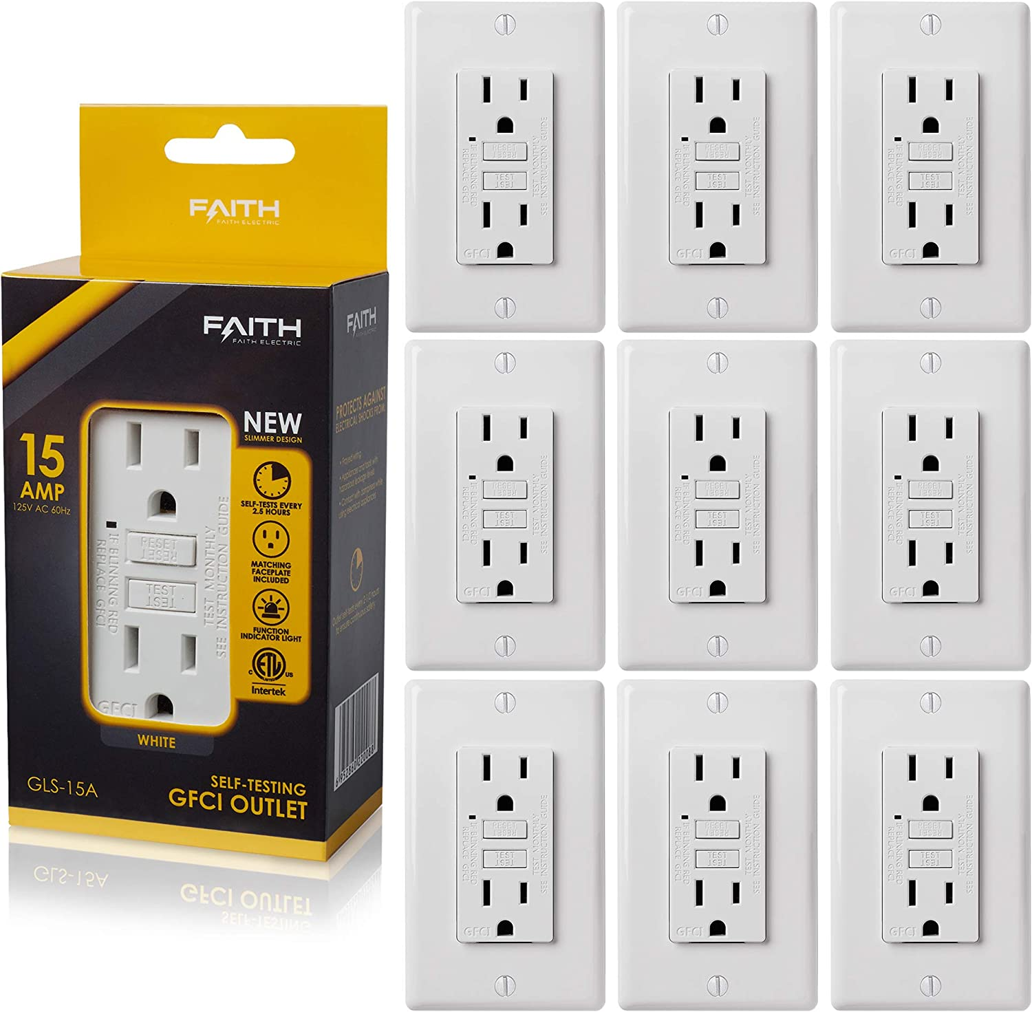 Faith [10-Pack] 15A GFCI Outlets Slim, Non-Tamper-Resistant GFI Duplex Receptacles with LED Indicator, Self-Test Ground Fault Circuit Interrupter with Wall Plate, ETL Listed, White, 10 Piece - -